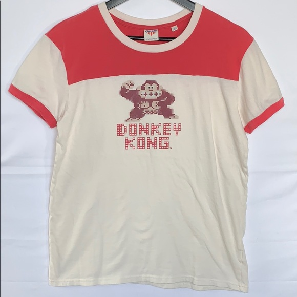 140dc21dc Junk Food Clothing Tops - Junk Food Women's Donkey Kong Cream and Red Shirt